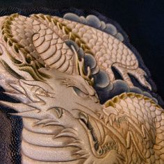 Hand-tooled leather dragon