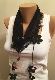 A personal favorite from my Etsy shop https://www.etsy.com/listing/257547295/tukish-oya-scarfblack-crochet-edge