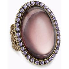 """Liz Palacios """"Piedras"""" Purple Swarovski Crystal and Cabochon ring ($42) ❤ liked on Polyvore"""