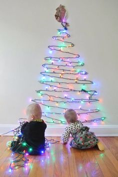 christmas tree of lights on wall