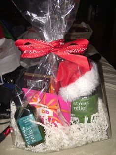 Perfect Christmas gift or secret Santa basket for co-workers, friends and family! Stress relief bath & body works products are the best. What girl doesn't love that store?