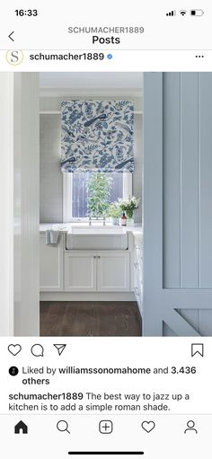 A beautiful country kitchen for all of you blue & white lovers! Roman shade in bleu et gris is utterly charming and so sophisticated! Stone Interior, Interior Design, Kitchen Blinds, Kitchen Curtains, Custom Cushions, Custom Curtains, Roman Blinds, Schumacher, Roman Shades