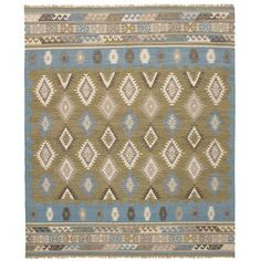 eCarpetGallery Esme Blue/Green Wool Flatweave Kilim Rug - x (Baby Blue/Olive Green - x (Cotton, Abstract) Green Wool, Blue Green, Accent Colors, Kilim Rugs, Blue Area Rugs, Rugs On Carpet, Hand Weaving, Baby Blue, Grey Light