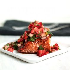 Celebrate summer's best ingredients with this quick, simple Balsamic Glazed Salmon with Strawberry Salsa!