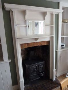Reclaimed Victorian/Edwardian Wooden Fire Surround With Mirror | eBay