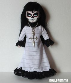 DEMON - B&W Gown and Skull Cross Necklace - custom for Living Dead Dolls. Available on Ebay and Etsy: by dolls4emma