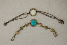 Seafarer: TURQUOISE $17 Antiqued brass with acrylic cabochon flowers and anchor clasp. Lead and nickel free.  This listing if for the bracelet with the TURQUOISE FLOWER ONLY.  *Keep of of reach from small children. Choking hazard.*