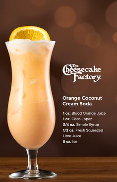 Try our at home recipe for the non-alcoholic Orange Coconut Cream Soda! Build in a mixing glass without ice. Shake well & pour into glass and top with Soda Water. Garnish with a thinly sliced orange. Liquor Drinks, Non Alcoholic Drinks, Cocktail Drinks, Refreshing Drinks, Summer Drinks, Cheesecake Factory Recipes, Smoothie Drinks, Smoothies, Coconut Drinks