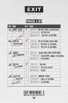 WINNER's 'Exit Movement : E' track list is out!   allkpop