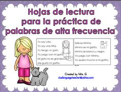 Spanish high frequency words reading practice