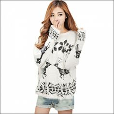 Korean Style Relaxed Fit Mohair Deer Pattern Round Neck Long Sleeve Woman Sweater White Free Size (Item number: 205, End Time : Feb. 23, 2015 12:41:24) -  2haifa.com 2HAIFA.COM FREE REGISTRATION AND FREE LISTINGS!! COME JOIN OUR FAMILY TODAY! https://www.facebook.com/2haifa  https://www.pinterest.com/2HAIFA2/ https://twitter.com/2haifasales