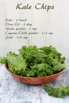 Baked Kale Chips. I've made these a few times now and they never disapoint. Seriously. Give these a try! You'll be glad you did!