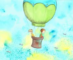 Two Boys Brothers In Green Hot Air Balloon by TheExtentofSilence