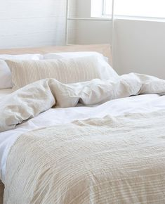 Q: How can I add some summer style to my bed? ☀️ A: See above! The easiest way to transform your bedroom with the season is by adding accessories. Swap in a textured throw or beach-inspired throw pillows to complete the look, like this Sevilla Linen Striped Bed Scarf. Neutral Bedding, Striped Bedding, Old Sheets, Fitted Sheets, Bed Scarf, Plaid Design, Fine Linens, Beautiful Bedrooms, Duvet Covers