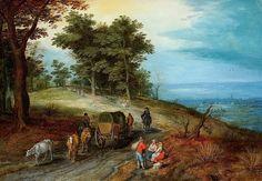 Jan Brueghel the Elder Пейзаж с каретой и крестьянами у дороги. 15х21. Частная коллекция