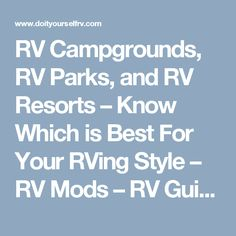 RV Campgrounds Parks And Resorts