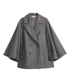 Wool-blend Cape in grey   H&M US