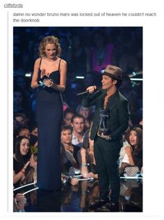 Holy crap even if she's wearing six inch heels he still comes up to her shoulders
