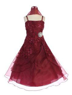 9aea920a9e1 Bijan Kids Girls Coral Ivory Tulle Flower Girl Junior Bridesmaid Dress 2-16