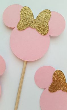 pink and gold minnie mouse cupcake toppers pink by declanandsmith