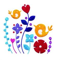 AnnTheGran Free Embroidery Design: Birds In Flowers 3.50 inches H x 3.50 inches W