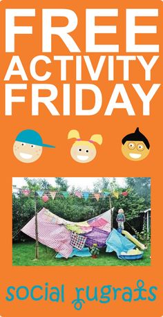 FREE ACTIVITY FRIDAY: Build a secret fort! You can drape old sheets over chairs or use a play set--whatever you have in your backyard will work! You could even use lower tree limbs! Make a night of it and have your family dinner in there. Tell family stories. Stay up late listening to the sounds of night and enjoying family time in your SPECIAL and SECRET place!
