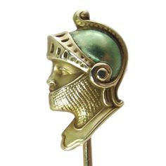 Edwardian Knight - Antique Stick Pin 14k Yellow Gold - Amazing, Rare - Vintage or Victorian Stickpin Brooch