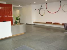 #Pompignan #Frenchlimestone flooring within commercial reception area