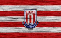 Download wallpapers Stoke City, 4k, Premier League, logo, England, wooden texture, FC Stoke City, soccer, football, Stoke City FC