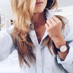 layered necklaces + watch