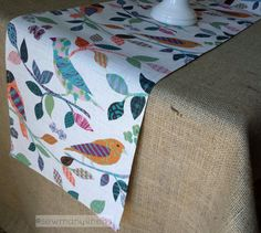 Colorful Table Runner Bird Print Vintage Shabby by SewManyLinens
