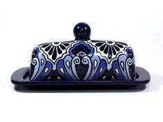 "Cobalt Blue and White Butter Dish -- ""Royal Border"" by TheTikiQueen on Etsy https://www.etsy.com/listing/174745632/cobalt-blue-and-white-butter-dish-royal"
