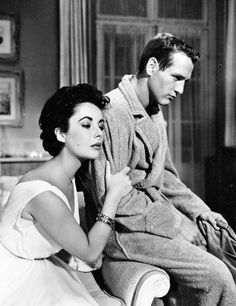 "Elizabeth Taylor (Maggie Pollitt) & Paul Newman (Brick Pollitt) - Cat on a Hot Tin Roof directed by Richard Brooks (1958) based on the play: ""Cat on a Hot Tin Roof"" by Tennessee Williams #tennesseewilliams"