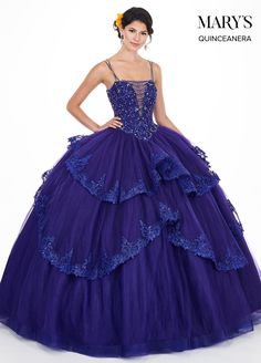 Tiered Illusion Sweetheart Quinceanera Dress by Mary s Bridal MQ1043  Applique Skirt 529369909640