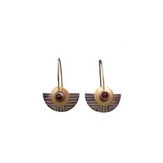Architectural Moving Earrings crafted from Sterling Silver sheet and 18K Gold vermeil & Garnet.