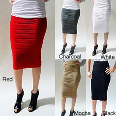 @Overstock - Pleated texturing lends dimension to this sleek high-waisted pencil skirt from Tabeez.