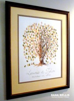 beautifully framed thumbprint guestbook tree