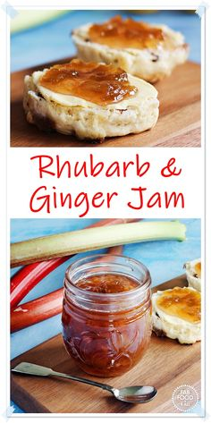 Rhubarb & Ginger Jam is made with crystallised stem ginger which adds a delicious mellowing warmth to the sharpness of the rhubarb. This is a jam you'll be begged to make again & again! #rhubarbandgingerjam #rhubarbandgingerjamrecipe #rhubarbandgingerjamrecipeeasy #rhubarbgingerjam #rhubarbgingerjamrecipes #rhubarbjam #jamrecipesuk Jelly Recipes, Jam Recipes, Canning Recipes, Fruit Recipes, Vegan Recipes Easy, Beef Recipes, Real Food Recipes, Sweets Recipes, Thermomix
