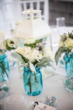 Oooh...something blue - love, love, love these blue Mason Jars for a Cape Cod beach wedding. www.thecasualgourmet.com