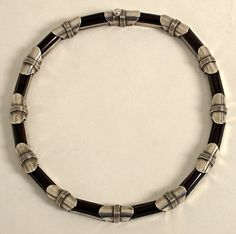 Necklace   Antonio Pineda.  Sterling silver and onyx