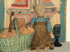 sweet doll with log cabin-great colors