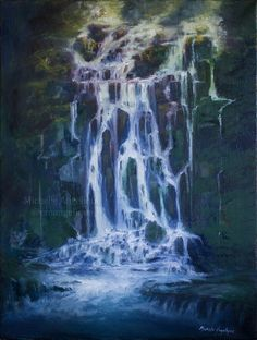 Waterfall oil painting gift for Mother's Day by emangelique.deviantart.com on @DeviantArt