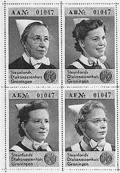 dutch stamps with nurses about 1950 (?)