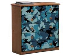 Doing this for my boys room! debating on whether i should just do drawer camo and leave the dressers wooden color alone input? its similar wood color brass handles but using black, light blue, dark blue, and green still using minature toy story toys as the handles though I start tomorrow! Cant wait!!