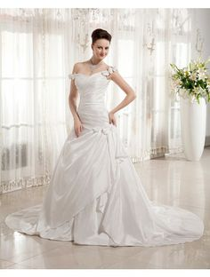 Wedding Dresses Wedding Dresses,Stkittsipa A-line Off-the-shoulder Sleeveless Taffeta White Wedding Dress With Hand-Made Flower #Wedding#Dresses