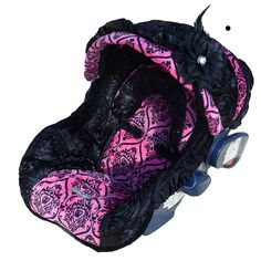 infant girls carseat covers | Baby Diva Rose Infant Car Seat Cover