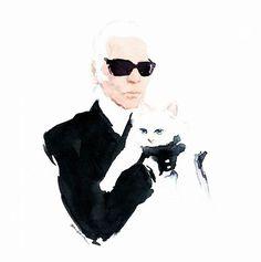 Karl Lagerfeld watercolor on paper Canson Sylvia Baldeva®