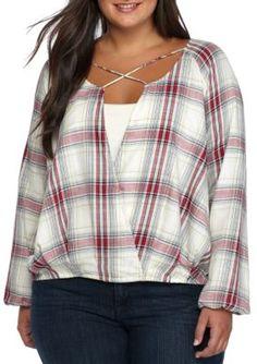 True Craft Girls' Plus Size Plaid Surplice Shirt - Sustain Red Plaid - 0X