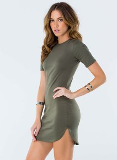 Want to look simple and sexy? Then look no further. This curved hem mini dress will have you looking all kinds of sexy.