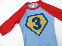 Children Costume Superhero Superman Birthday Shirt- Boys Girls Tshirt for Cape Birthday Party. $32.00, via Etsy.